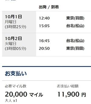 羽田⇔台北選択内容の確認 I 国際線