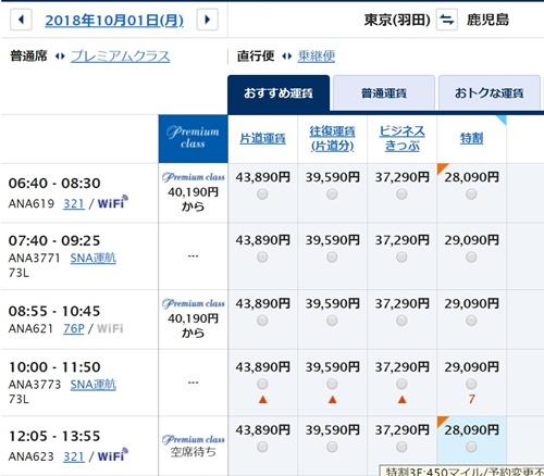 ANA SKY WEB羽田⇒鹿児島片道