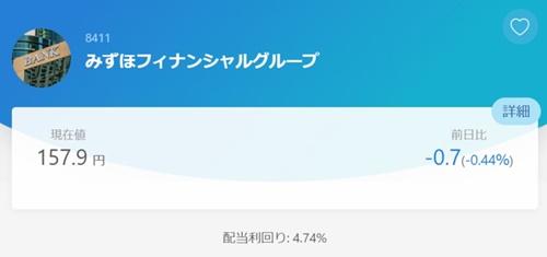 SBIネオモバイル証券みずほ銀行株の値段