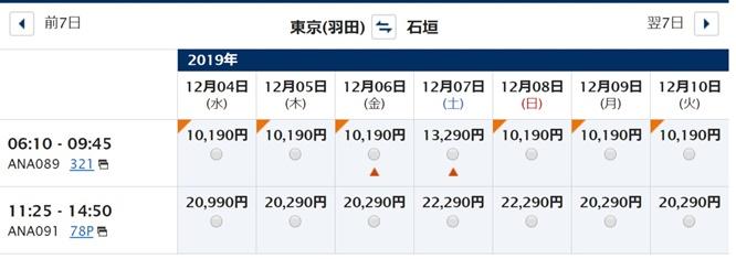 最安運賃空席照会結果 - ANA国内線羽田石垣