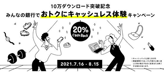 みんなの銀行デビットカード利用で20%キャッシュバックキャンペーン中!